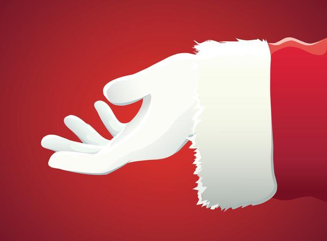 mano di Babbo Natale che presenta il tuo testo di Natale o prodotto su sfondo rosso con spazio di copia vettore