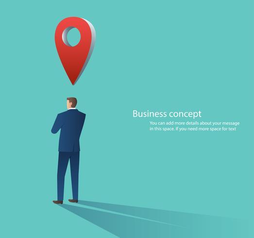 homme d'affaires avec l'icône d'emplacement de broche, illustration vectorielle de grande carte pointeur