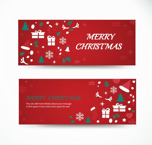 Fije la tarjeta de felicitación de Navidad con diseños de banner de fondo de patrón de espacio