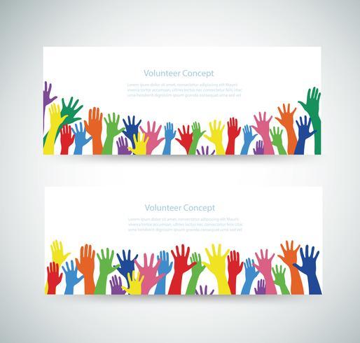 concepto de voluntario, manos libres levantan ilustración de vector de fondo banner