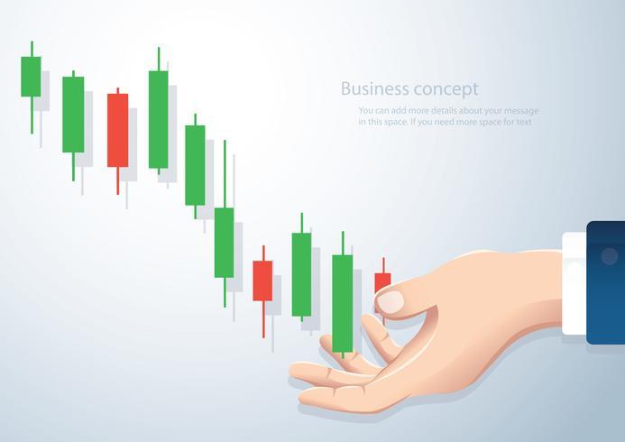 hand som håller en ljusstake diagram börsen ikon vektor bakgrund