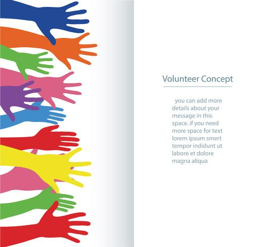 concept de bénévole, mains libres se lèvent illustration vectorielle de bannière fond