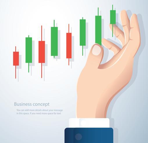 mano sosteniendo un fondo de vector de icono de mercado de valores gráfico de velas