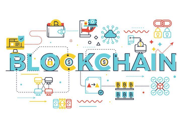 Illustration de lettrage de mot blockchain