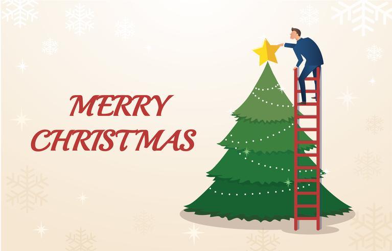 um empresário segurar uma estrela com árvore de Natal e espaço para plano de fundo do texto