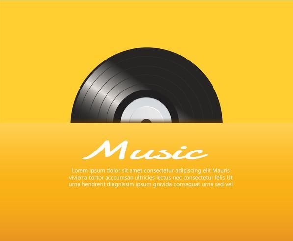 Vinylaufzeichnung mit gelbem Abdeckungsmodell-Hintergrundvektor vektor