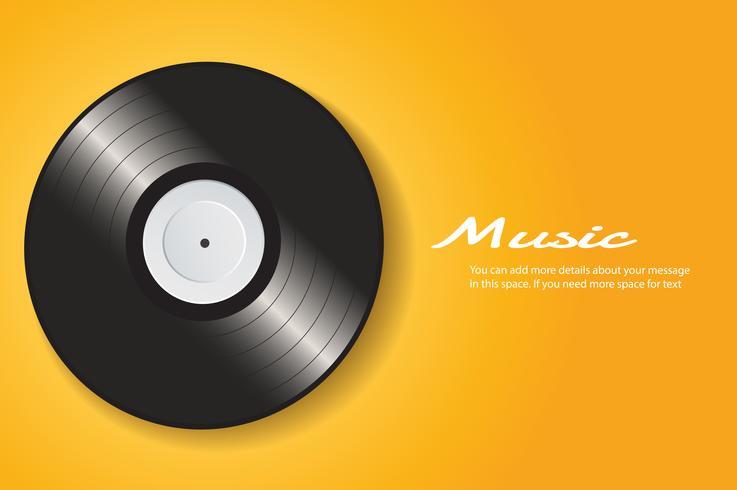 Vinylaufzeichnung mit gelbem Abdeckungsmodell-Hintergrundvektor