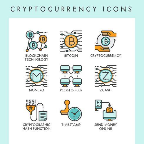 Illustrations de concept d'icônes de cryptomonnaie
