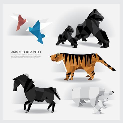 Animales Origami conjunto ilustración vectorial