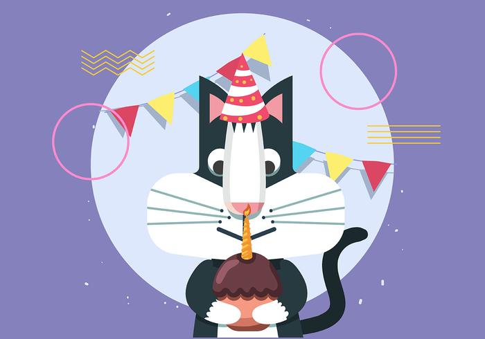 Happy Birthday Animal Cat vector