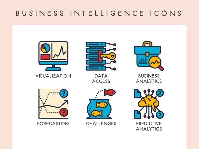 Ícones de inteligência de negócios vetor