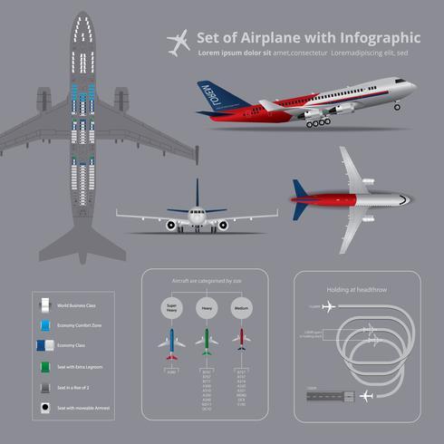 Set av flygplan med infografisk isolerad vektor illustration