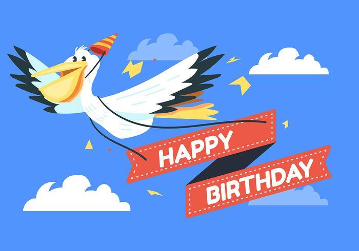 Gelukkige verjaardag dierlijke pelikaan