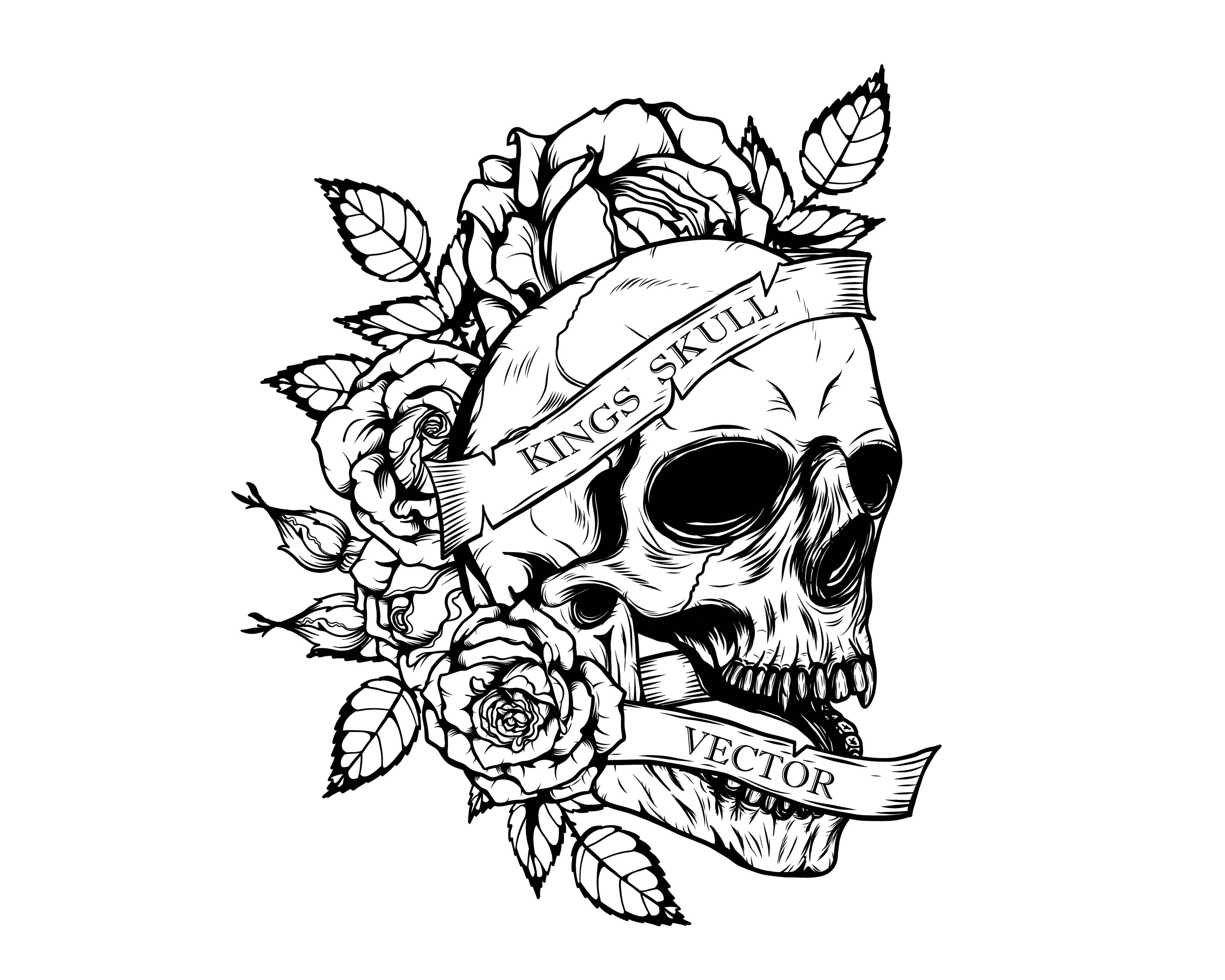 Hand Drawings Roses And Skulls: Skull With Chrysanthemum Tattoo By Hand Drawing