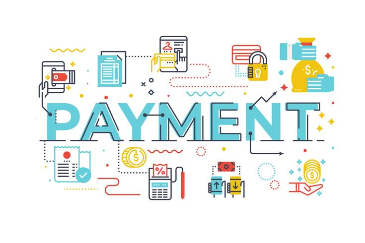 Palavra pagamento, lettering, ilustração vetor
