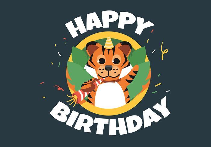 Feliz cumpleaños animal tigre