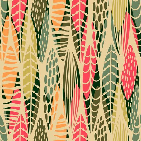 Abstrakt sömlöst mönster med tropiska löv. Vektor mall.