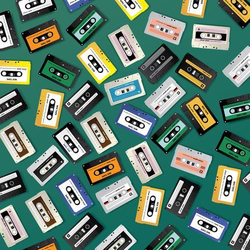 Vintage Retro Cassette Tape Patroon Ontwerpsjabloon Vectorillustratie