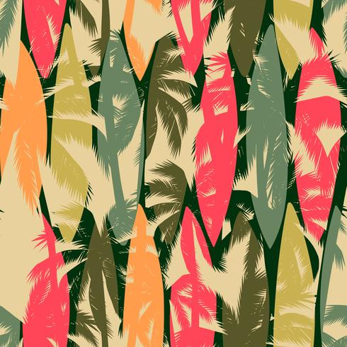 Abstract naadloos patroon met tropische palm. Vector sjabloon.