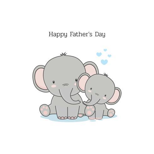 Vatertagskarte mit lustigen Zeichentrickfilm-Figuren. Vati-Elefant und sein Baby