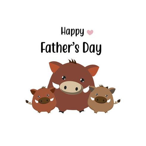 Happy father's day card.Cute boar dad and his baby.