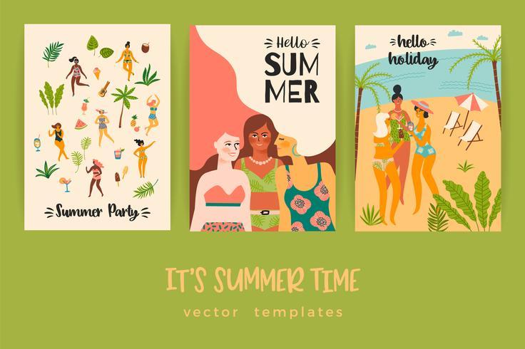 Plantillas del vector con la ilustración de verano divertido.