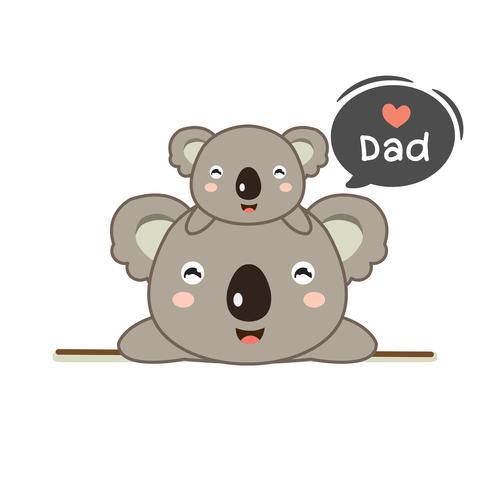 Tarjeta del día del padre con papá oso y su bebé.
