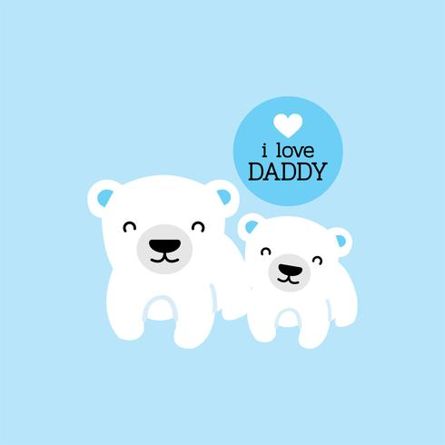 Vaderdag kaart met papa ijsbeer en zijn baby. vector