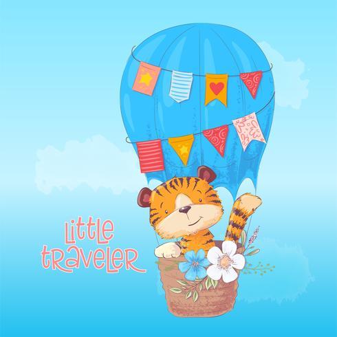 O filhote de tigre bonito do cartaz voa em um balão. Estilo dos desenhos animados. Vetor