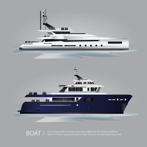 Iate de barco de transporte turístico para viajar de ilustração vetorial