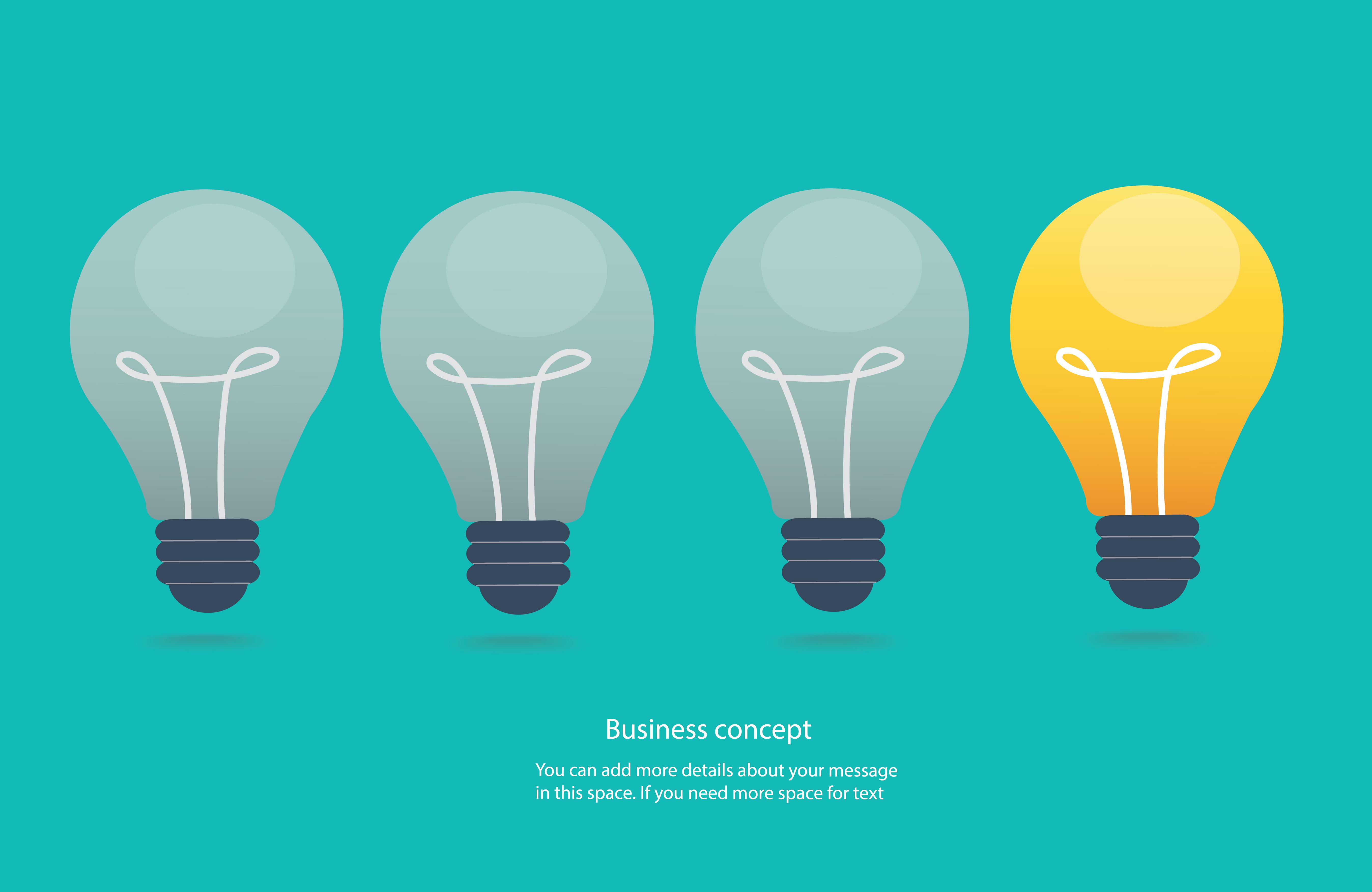 Creative Idea Concept Light Bulbs Icon Vector