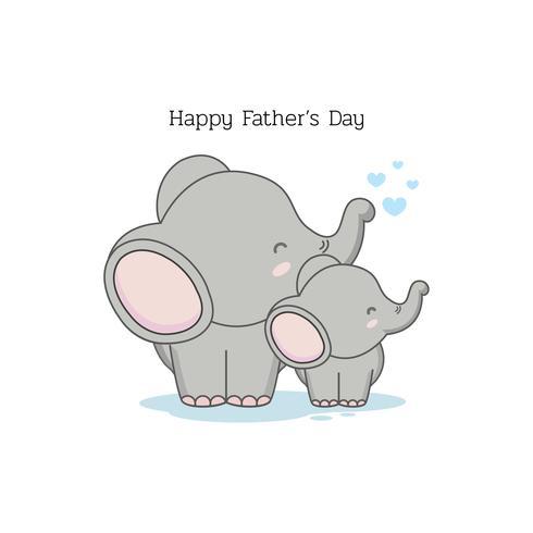 Tarjeta del día del padre con personajes de dibujos animados divertidos. Papa elefante y su bebe