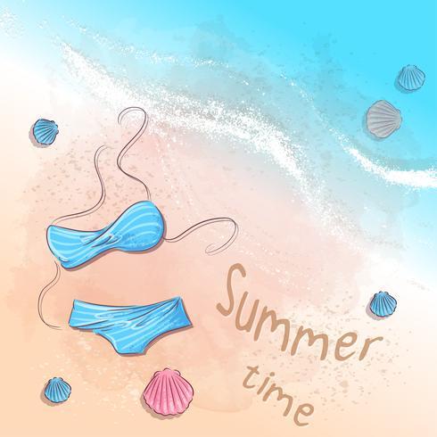Poster accessoires de plage sur le sable. Illustration vectorielle vecteur