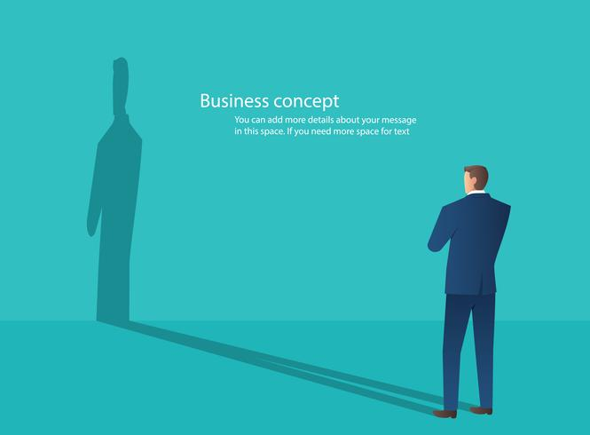 businessman standing with blue wall background , creative thinking concept vector illustration