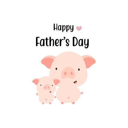 Cartão de dia dos pais feliz. Paizinho bonito e bebê dos desenhos animados do porco. vetor