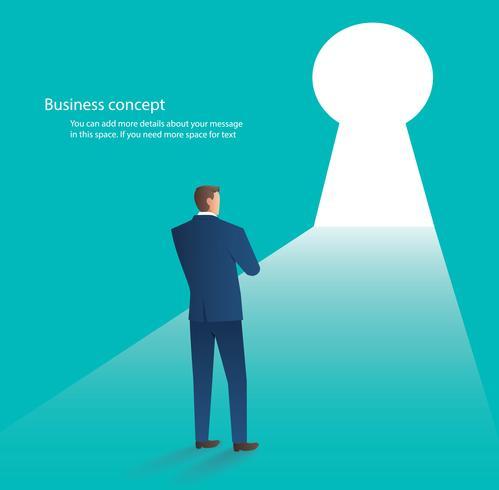 uomo d'affari che sta davanti alla porta del foro chiave, illustrazione di vettore di concetto di affari