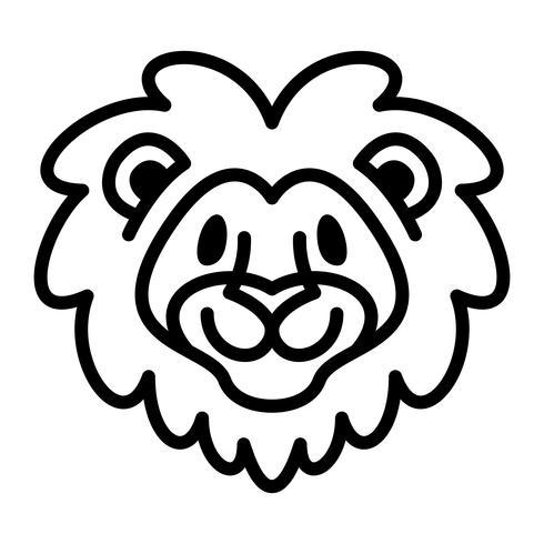 Leão cabeça cartoon ilustração
