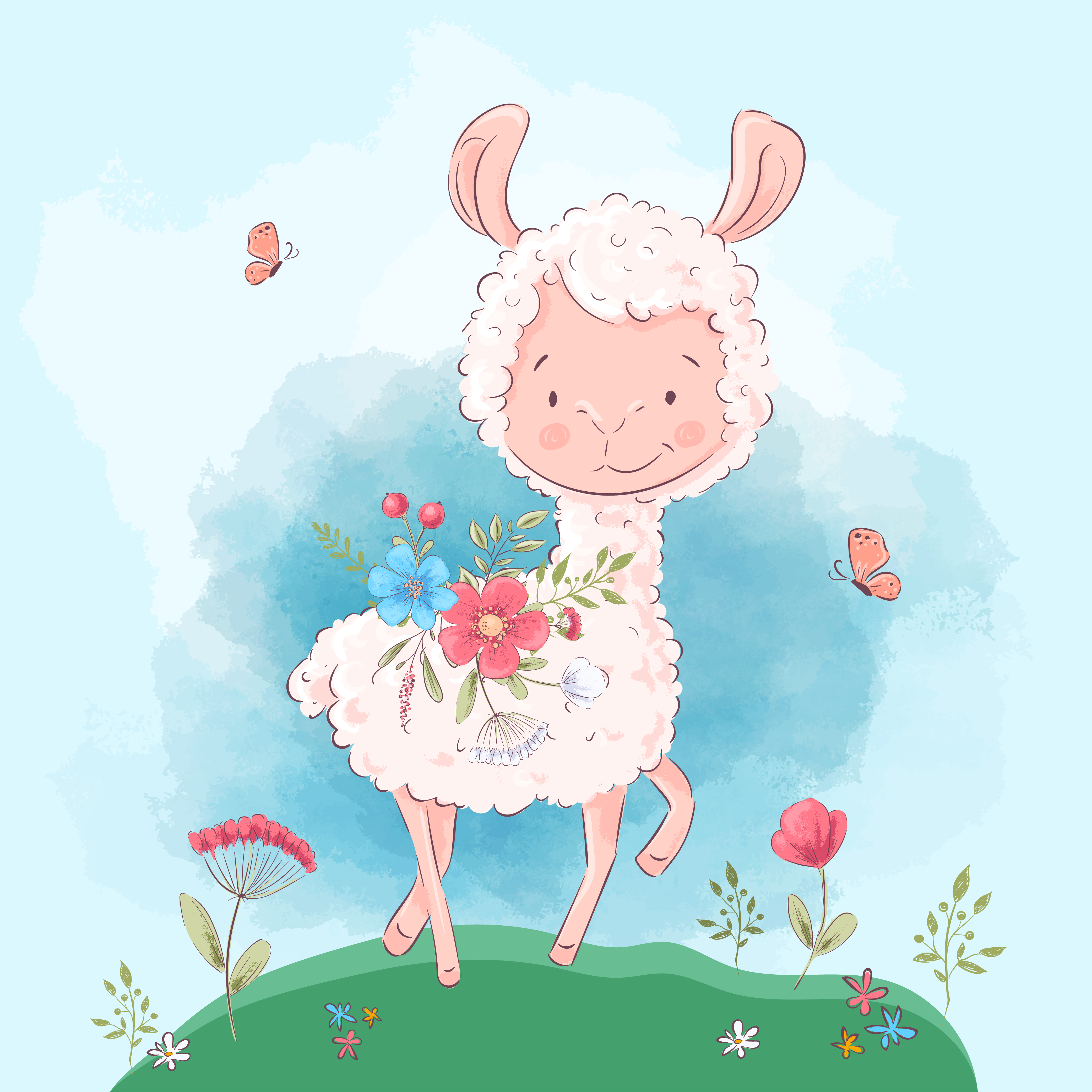 Poster cute llama flowers and butterflies. Cartoon style ...