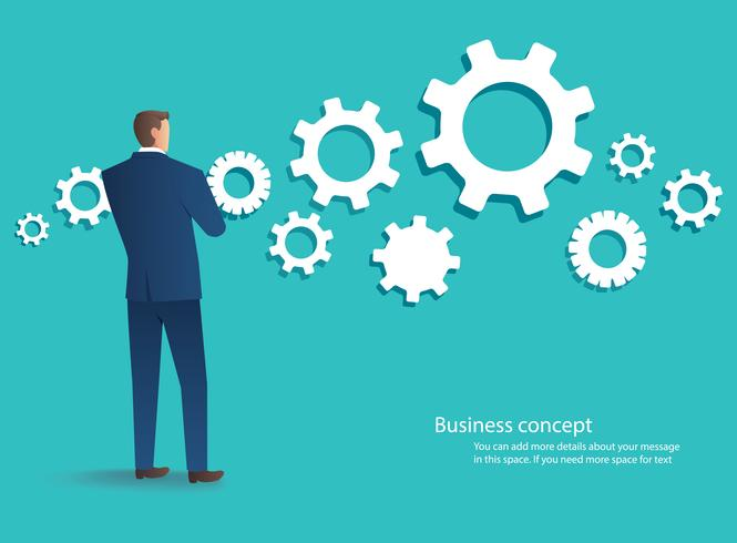 standing businessman with cogs wheel background , business concept of development vector illustration