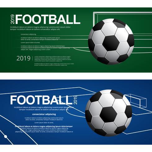 2 Banner Soccer Football Poster Vector Illustratie