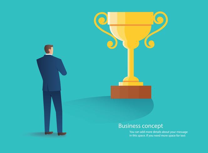 empresário de pé com o troféu de ouro, conceito de ilustração vetorial bem sucedida