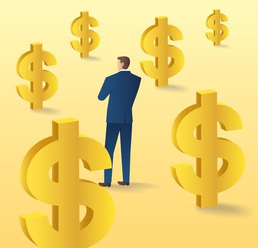 zakenman permanent met dollar pictogram, bedrijfsconcept van valuta vectorillustratie