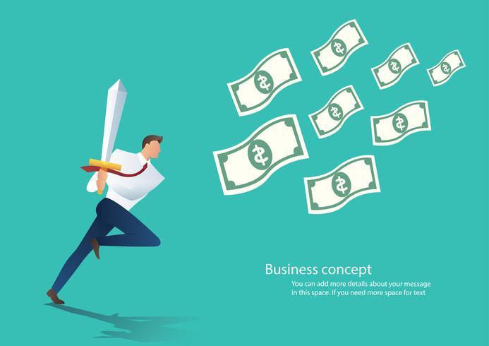 zakenman bedrijf zwaard met geld rekeningen vectorillustratie