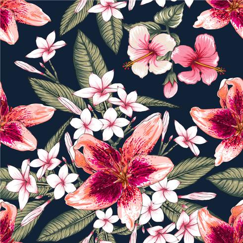 Seamless floral pattern pink pastel color Hibiscus,Frangipaniand Lilly flowers on isolated dark blue background.Vector illustration watercolor hand drawn doodle. vector
