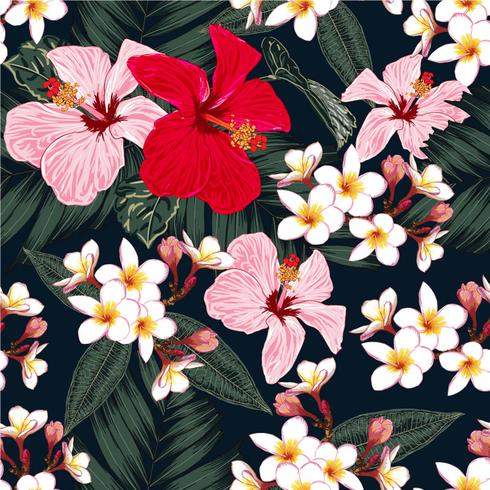 Seamless floral pattern green palm leaves,Red and pink pastel color Hibiscus,white Frangipani flowers on isolated black background.Vector illustration watercolor hand drawn doodle style.