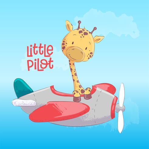 Poster cute giraffe flying on an airplane. Cartoon style. Vector
