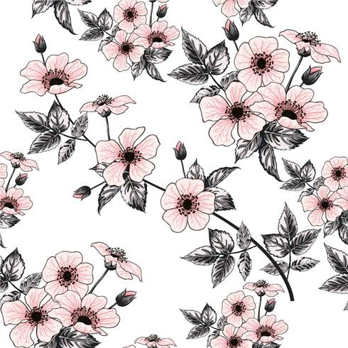 Seamless pattern pink wild rose flowers on pastel background.Vector illustration hand drawing doodle.For used wallpaper design,textile fabric or wrapping paper. vector