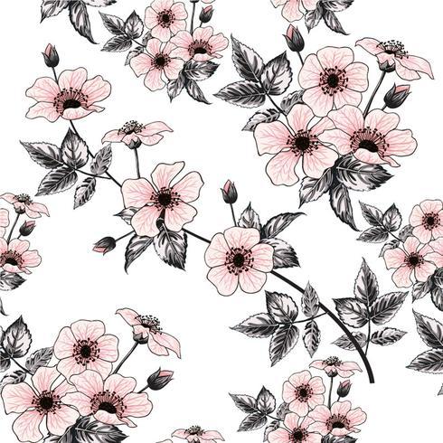 Flores color de rosa salvajes del rosa inconsútil del modelo en fondo en colores pastel Doodle del dibujo de la mano del ejemplo del vector Para el diseño usado del papel pintado, la tela de materia textil o el papel de embalaje.