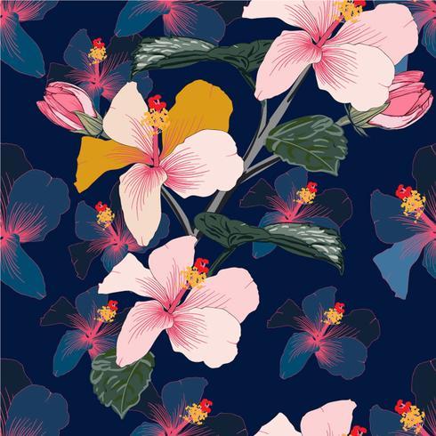 Seamless blommönster rosa pastellfärg Hibiskusblommor på mörkblå abstrakt bakgrund. Vektorkonst akvarell handritad klotterstil.