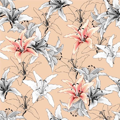 Sin fisuras patrón vintage rosa lilly flores sobre fondo en colores pastel. Ilustración vectorial estilo acuarela. Para el diseño de papel tapiz usado, tela textil o papel de regalo